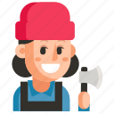 avatar, job, lumberjack, profession, user, woman, work icon