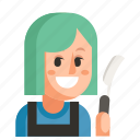 avatar, barber, job, profession, user, woman, work icon