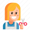 avatar, hairdresser, job, profession, user, woman, work icon