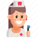 avatar, dentist, job, profession, white, woman, work icon