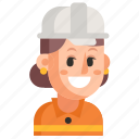 avatar, job, profession, road worker, user, woman, work icon