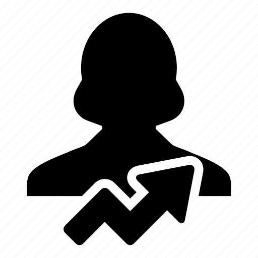analytics, arrow, business, finance, growth, person\, woman icon