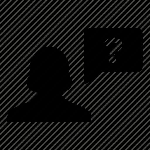 bubble, help, person, question, speech, user, woman icon