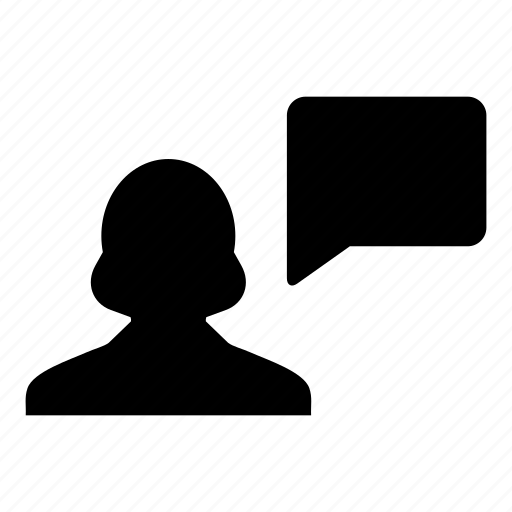 bubble, business, chat, person, speech, talk, woman icon