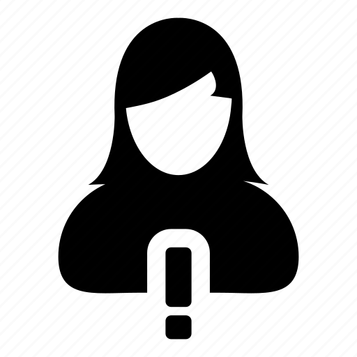 account, alert, girl, user, warning icon