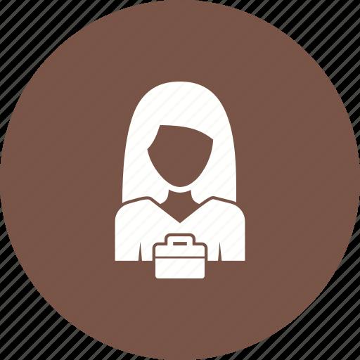 business, businesswoman, career, corporate, job, laptop, office icon