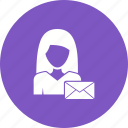 business, envelope, letter, office, paper, woman, work icon