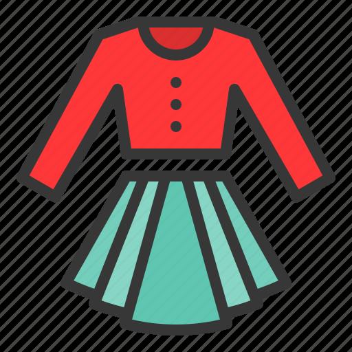 clothes, fashion, female, long sleeve shirt, skirt, women, women's clothing icon