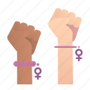 feminism, fists, gesture, hand, protest, punch, women icon