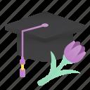 cap, education, graduate, graduation, student, woman icon