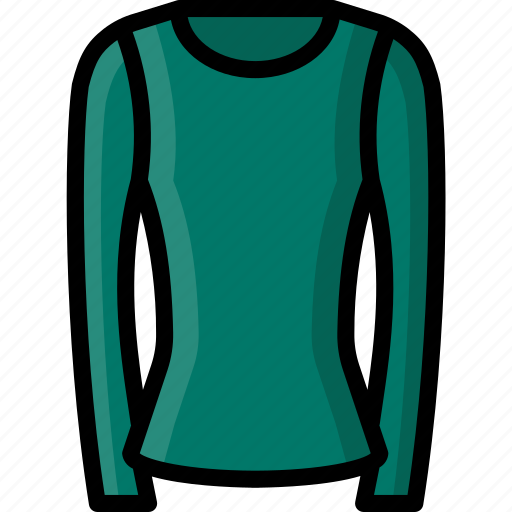 clothing, colour, long, round, shirt, sleeved, womens icon