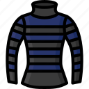 clothing, colour, jumper, neck, stripy, turtle, womens icon