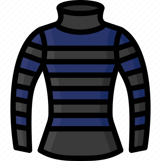 Clothing, colour, jumper, neck, stripy, turtle, womens icon - Download on Iconfinder