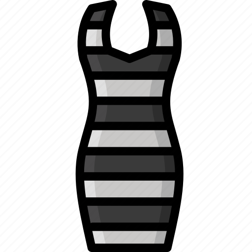 bodycom, clothing, colour, dress, stripy, womens icon