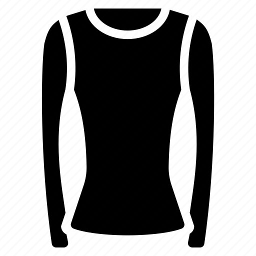 clothing, long, neck, shirt, sleeved, solid, womens icon