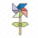 child, kid, party, play, toy, windmill, wooden icon