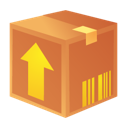 arrow, box, crate, orange, package, upload icon