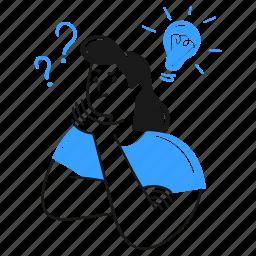 problem, solving, work, light, bulb, idea, solution