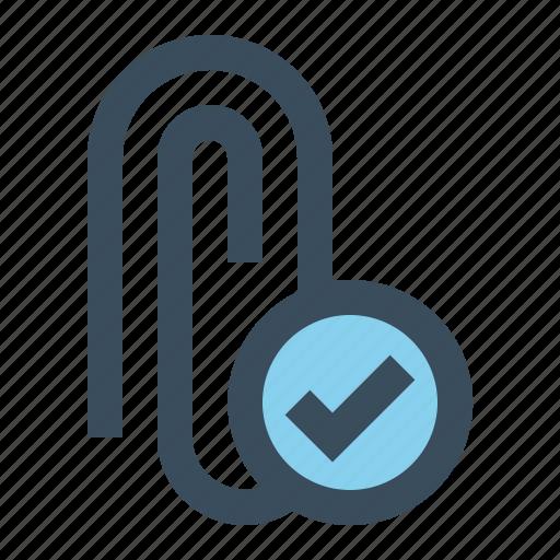attach, attachment, check, paperclip icon