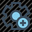 add, gear, manage, new, setting icon