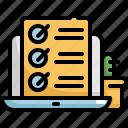 checklist, laptop, list, work, working, working at home icon