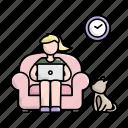 dog, home, sofa, wfh, woman, work icon