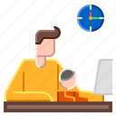 busy, child, home, kid, together, work icon