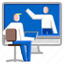computer, conference, meeting, online, video icon