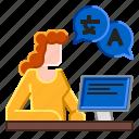 interpreter, language, translate, translation, translator icon