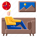 relax, relaxation, sitting, sofa, work icon