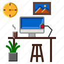 computer, space, table, work, workplace icon