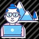 computer, digital, man, nomad icon
