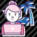 digital, nomad, palm, woman icon