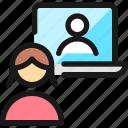 meeting, woman, team, laptop