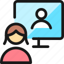 monitor, meeting, woman, team