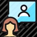 meeting, team, monitor, woman