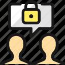 team, meeting, message, lock