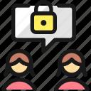 team, meeting, message, women, lock