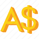 australian, currency, dollar, gold, sign icon