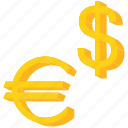 currency, dollar, euro, europe, sign, us icon
