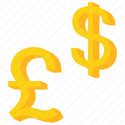 currency, dollar, exchange, foreign, gold, pound, sign icon