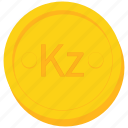 angola, angolan, coin, currency, gold, kwanza icon
