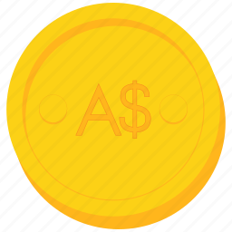 australian, coin, currency, dollar, gold, sign icon