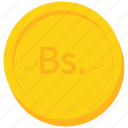 bolivia, bolivian, boliviano, coin, currency, gold icon