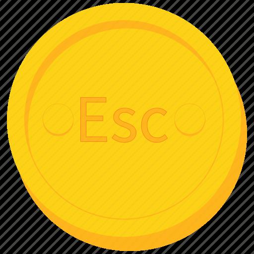cape, coin, currency, escudo, gold, verde, verdian icon
