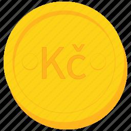 coin, currency, czech, gold, koruna icon