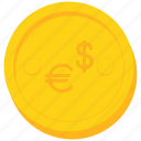 coin, currency, dollar, euro, europe, gold, us icon
