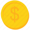 coin, currency, dollar, gold, sign, us icon