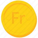 coin, currency, franc, gold icon