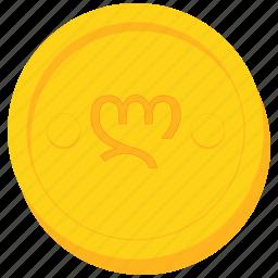 coin, currency, georgia, georgian, gold, lari icon